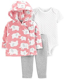 Baby Girls 3-Pc. Fleece Elephant Hoodie, Dot-Print Bodysuit & Leggings Set