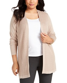 Karen Scott Plus Size Open-Front Cable-Knit Cardigan, Created for Macy's