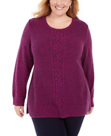 Karen Scott Plus Size Cable-Knit Panel Sweater, Created for Macy's