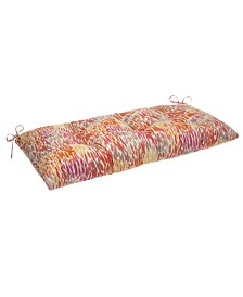 EF Home Decor Indoor/Outdoor Reversible Tufted Loveseat/Bench Cushion With Ties, April Showers