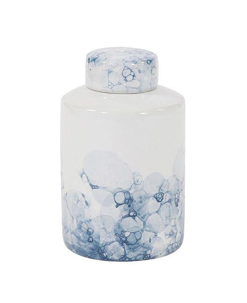 Howard Elliott Blue and White Porcelain Tea Jar, Large