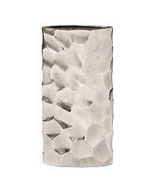 Hammered Aluminum Oval Vase Bright Silver
