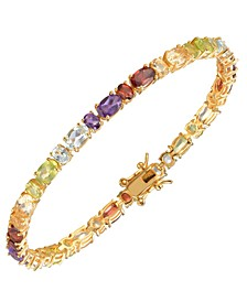 Multi-Gemstone (10 1/6 ct. t.w.) Tennis Bracelet 18K Gold Over Sterling Silver