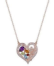 Prime Art & Jewel 18K Rose Gold Over Sterling Silver Multi Stone Heart Pendant