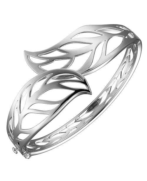 Macy's Prime Art & Jewel Sterling Silver Leaf Designed Cuff Bracelet