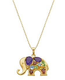 Prime Art & Jewel 18K Gold Over Sterling Silver Multi Stone Elephant Pendant