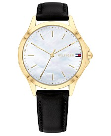 Tommy Hilfiger Women's Black Leather Strap Watch 34mm