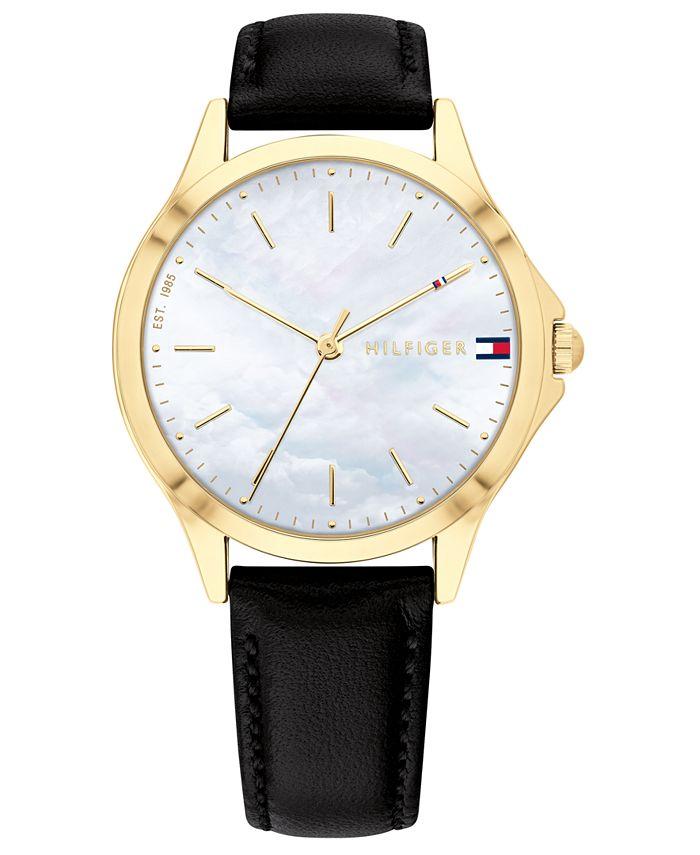 Tommy Hilfiger - Women's Black Leather Strap Watch 34mm