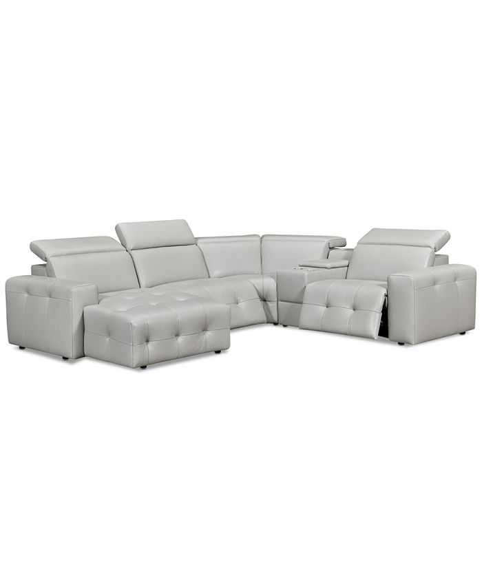 Furniture - Haigan 5-Pc. Leather Chaise Sectional Sofa with 2 Power Recliners