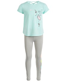 Ideology Little Girls Graphic-Print Cross-Back T-Shirt & Heart Leggings, Created for Macy's
