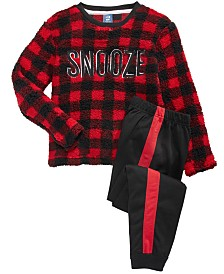 Max & Olivia Big Boys 2-Pc. Snooze Faux-Sherpa Top & Colorblocked Pants Pajama Set