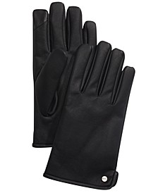 Men's Faux-Leather Touch-Screen Gloves