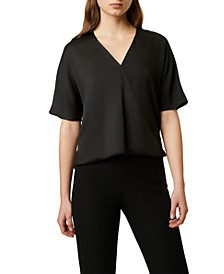 Alessia Surplice-Neck Textured Top