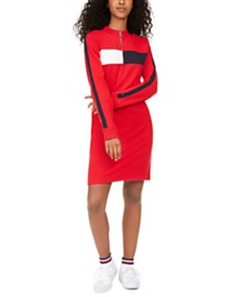 Tommy Hilfiger Logo Striped Mockneck Dress