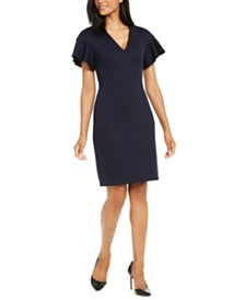 Elie Tahari Geraldine Flutter-Sleeve Dress