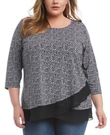 Karen Kane Plus Size Leopard Crossover-Hem Top