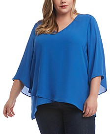 Plus Size Crossover-Hem Top