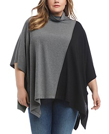 Plus Size Colorblocked Funnel-Neck Poncho Top