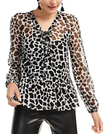 I.N.C. Animal-Print Lace-Up Blouse, Created for Macy's