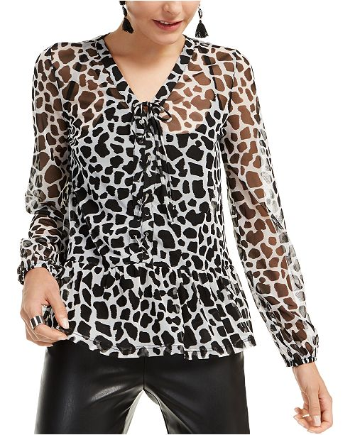 INC International Concepts I.N.C. Animal-Print Lace-Up Blouse, Created for Macy's