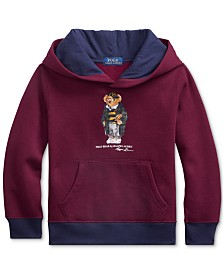 Polo Ralph Lauren Little Boys Football Bear Fleece Hooded Sweatshirt