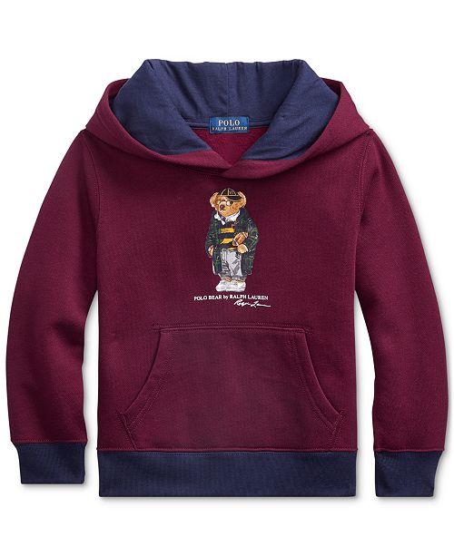 Polo Ralph Lauren Little Boys Football Bear Fleece Hooded Sweatshirt