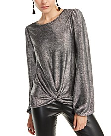 INC Petite Twist-Front Shine Top, Created For Macy's