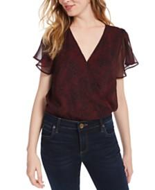 Ash & Violet Printed Flutter-Sleeve Bodysuit