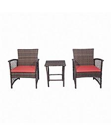 3-Piece Woven Rattan Wicker Seating Set