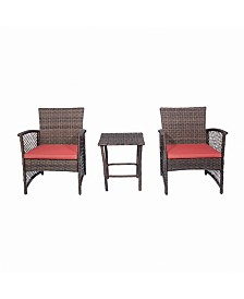 Westin Furniture 3-Piece Woven Rattan Wicker Seating Set
