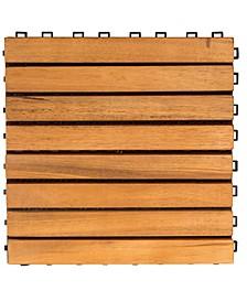 Outdoor Patio 8-Slat Acacia Interlocking Deck Tile Set of 10 Tiles