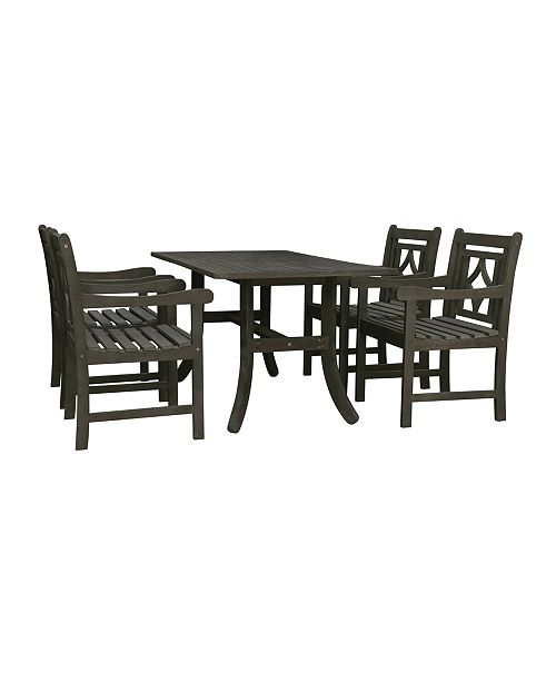 Miraculous Renaissance Outdoor 5 Piece Wood Patio Curvy Legs Table Dining Set Ocoug Best Dining Table And Chair Ideas Images Ocougorg