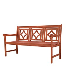 Malibu Outdoor Patio Diamond Eucalyptus Hardwood Bench