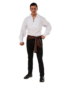 Men's White Lace Up Adult Pirate Shirt