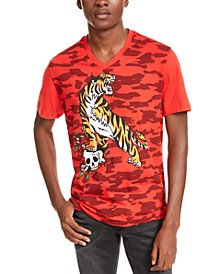 INC Men's V-Neck Tiger Graphic T-Shirt, Created For Macy's