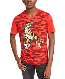 I.N.C. Men's V-Neck Tiger Graphic T-Shirt, Created For Macy's