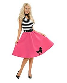 Women's Pink Poodle Dress Adult Costume