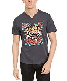 INC Men's Split-Neck Tiger T-Shirt, Created For Macy's