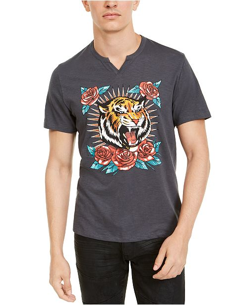 INC International Concepts INC Men's Split-Neck Tiger T-Shirt, Created For Macy's