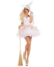 Women's Sassy White Magic Witch Adult Costume