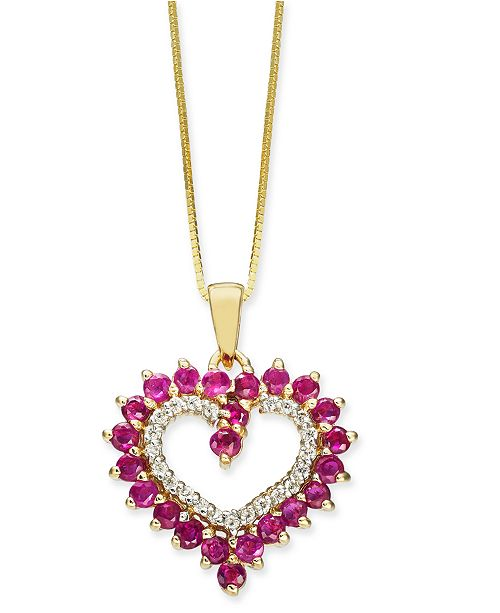"""Macy's Certified Ruby (1-1/6 ct. t.w.) & Diamond (1/10 ct. t.w.) Heart 18"""" Pendant Necklace in 10k Gold"""