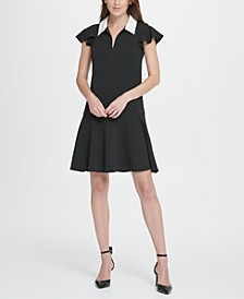 Collared Flutter Sleeve Fit  Flare Dress