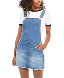 Vanilla Star Juniors' Frayed-Hem Overalls Dress