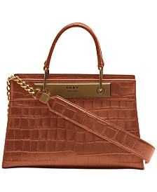 DKNY Cooper Leather Croc-Embossed Satchel, Created for Macy's