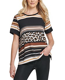 Mixed-Stripe Vented-Hem T-Shirt