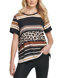 DKNY Mixed-Stripe Vented-Hem T-Shirt