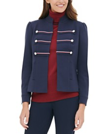 Tommy Hilfiger Band-Style Double-Breasted Blazer