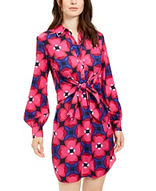 Printed Twist-Front Shirtdress