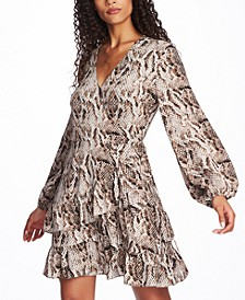 Ruffled Snake-Print Wrap Dress