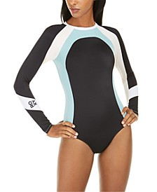 Juniors' Colorblocked Long Sleeve One-Piece Swimsuit
